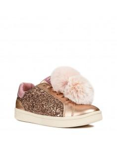 GEOX J824MD Scarpe bambina ragazza sneakers lacci pelliccia pelle glitter Bronzo