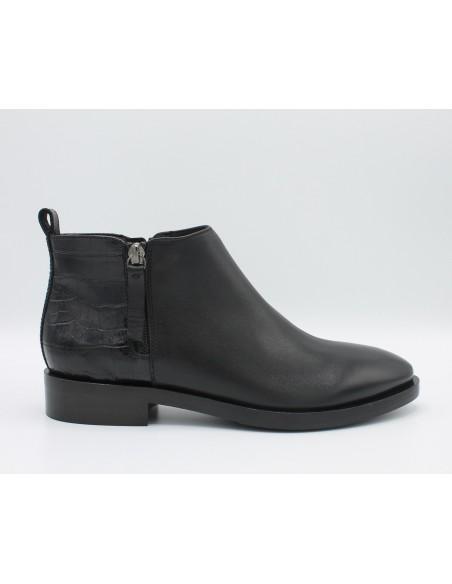 GEOX Stivaletto Donna Brogue D842UF Tronchetto in pelle nero tacco basso scarpe