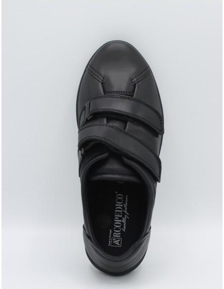 ARCOPEDICO N6 Scarpe donna in morbida pelle Nero con doppio strappo linea comoda