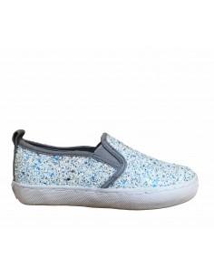 Gioseppo scarpe bimba slip-on kopita glitter argento