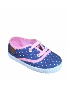 Gioseppo scarpe bambina in jeans navy e rosa con pois
