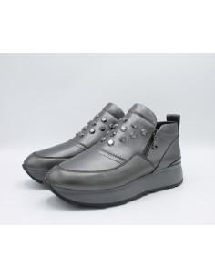 Geox scarpe donna in pelle grigio Gendry D745TA Slip On con zeppa
