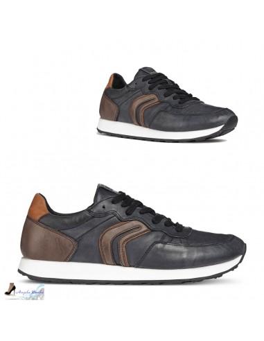GEOX VINCIT U845VC Scarpe uomo sneakers running vintage in pelle color nero caffè
