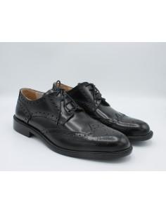 Sannino scarpe uomo classiche modello derby in pelle nero, made in Italy