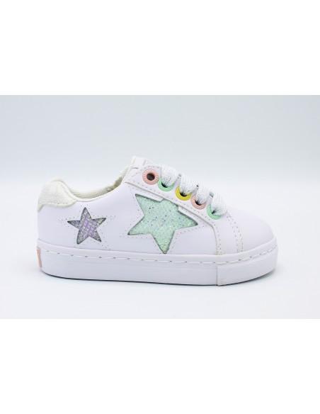 Gioseppo scarpe da bambina in pelle bianco con stelle glitter 47367