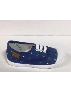 Gioseppo scarpe bimbo con lacci in tessuto blu fantasia marinara, art. Ancre