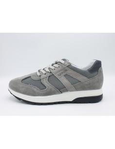 Igi & Co scarpe da uomo sneakers in pelle e tela blu 3127200