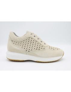 Geox scarpe da donna in camoscio Crema con lacci Happy D5262A