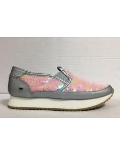 Gioseppo sneakers slip-on in pelle argento con effetto squame rosa, Miltery