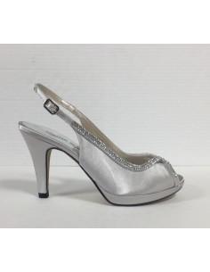 Cinzia soft sandali donna eleganti in raso argento con brillantini, art.Il50527