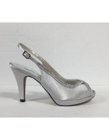 f8ca9abd8e Cinzia soft sandali donna eleganti in raso argento con brillantini,  art.Il50527 - Angela Barba