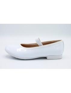 Geox scarpe da bambina eleganti vernice bianca comunione cerimonia J8455D Pliè