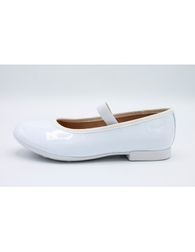 Geox scarpe da bambina eleganti vernice bianca comunione cerimonia J8455D Pliè Angela Barba