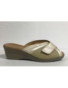 Cinzia soft pantofole donna in pelle beige e tessuto elasticizzato, art. Io770