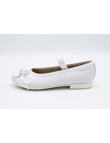 Geox scarpe da bambina eleganti in pelle bianca comunione cerimonia J9255D Pliè Angela Barba Angela Barba