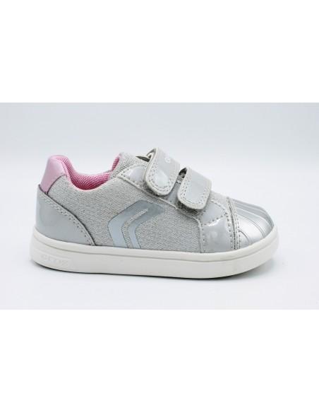 Geox scarpe da bambina con strappi in tela Argento B921WE DjRock