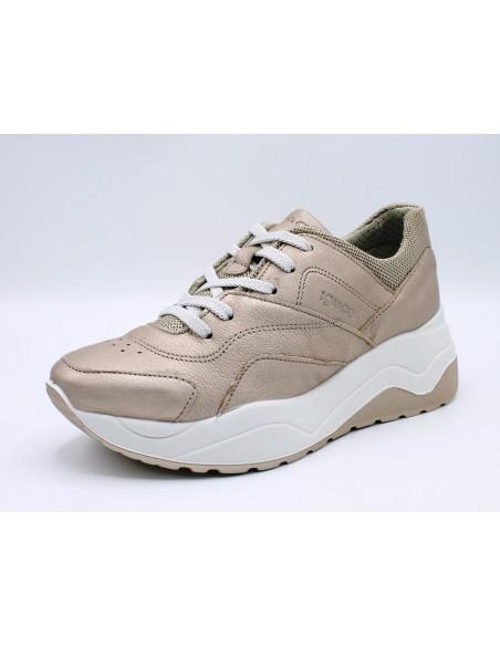Igi & Co scarpe da donna in pelle con zeppa platform Champagne 3161655