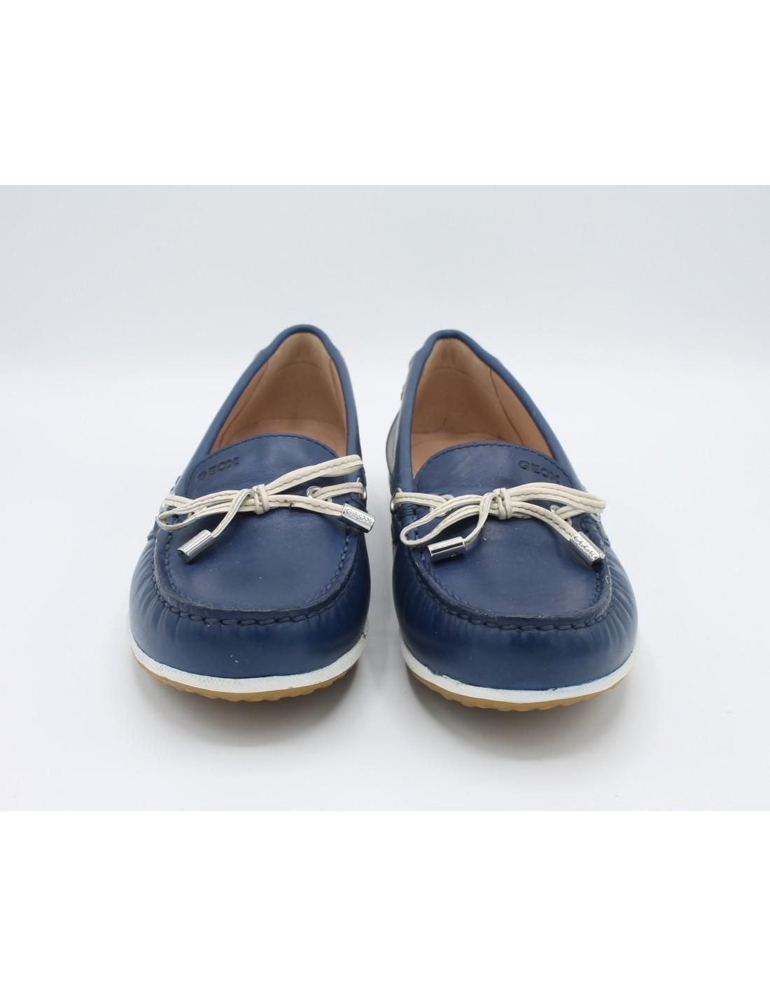 Detalles de Geox Zapatos de Mujer Mocasines Verano Piel Azul Cómodo 38 39