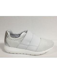 Igi & co. Scarpe donna sneakers slip-on in tela e pelle bianco/argento art. 77644