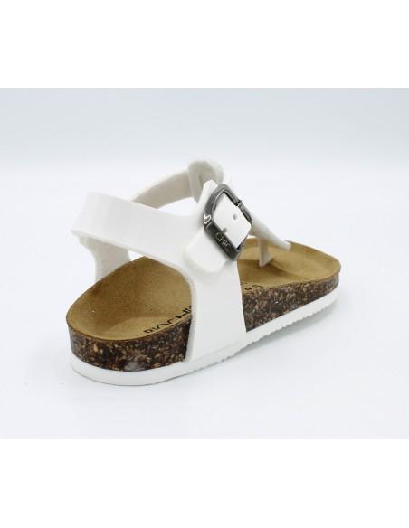 Biochic sandal da bambina infradito in vernice bianco plantare anatomico 44042