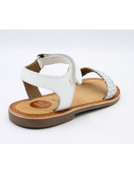 GIOSEPPO 38889 Sandali bambina in cuoio con fascia intrecciata in pelle bianco
