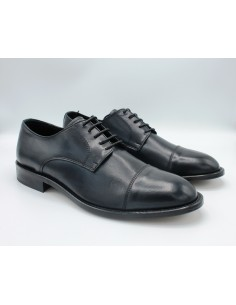 Scarpe da uomo classiche in pelle e cuoio blu eleganti con lacci 505