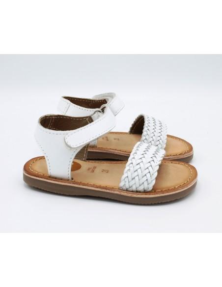 GIOSEPPO 48617 Sandali bambina in cuoio con fascia intrecciata in pelle bianco