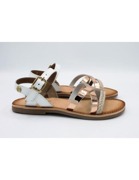Gioseppo sandali da bambina ragazza in pelle e cuoio bianco nude 47843