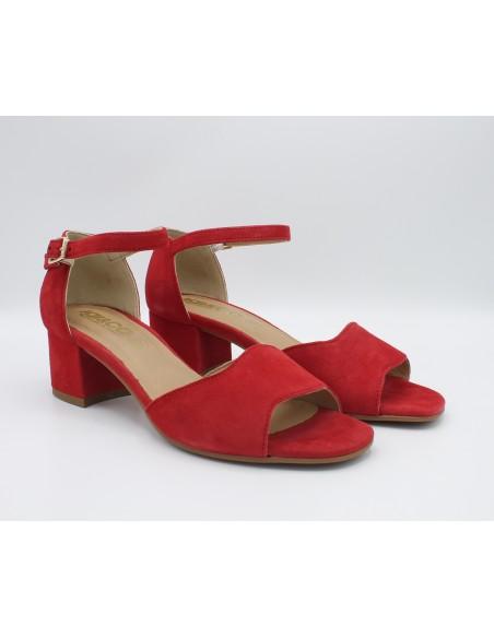 Igi & Co. sandali da donna in camoscio rosso eleganti con tacco 3185277