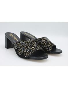 Pasquini sandali donna scalzati eleganti in camoscio nero con strass 2136