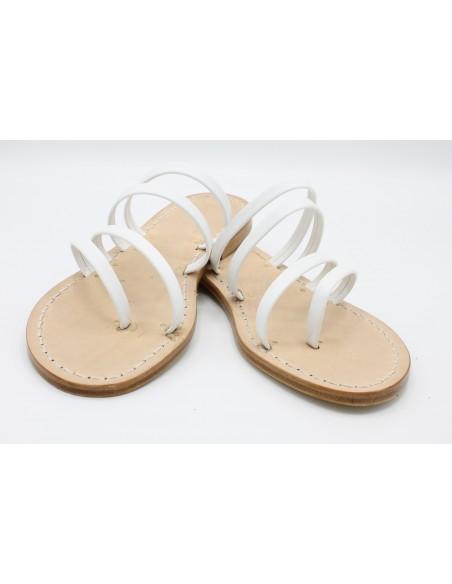 Sandali da donna artigianali con tacco basso in cuoio e pelle Coly