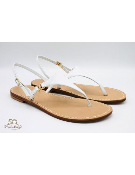 Sandali Artigianali in cuoio da donna fatti a mano moda capri positano Bianco