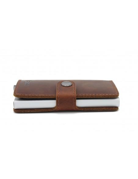 Porta carte di credito portafogli in pelle RFID alluminio