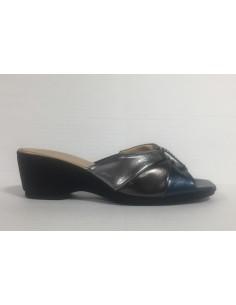 Cinzia soft pantofole donna in pelle perlata color peltro/fucile/blu art. Io803