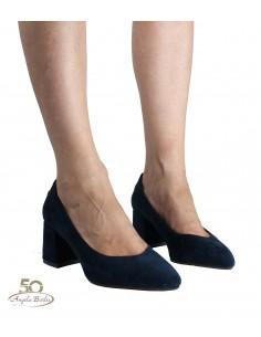 XTI scarpe da donna con tacco decoltè a punta in camoscio nero 35109