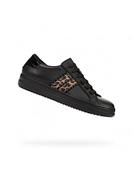 Geox scarpe da donna in pelle nero sneakers basse Pontoise D94FED