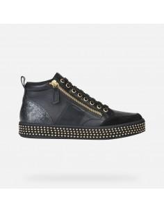 Geox scarpe da donna sneakers alte in pelle nero Leelù D94FFG