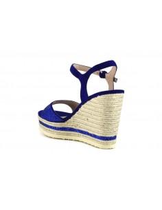 Cafè noir donna sandali in suede con strass e zeppe in corda, bluette art. Hg933