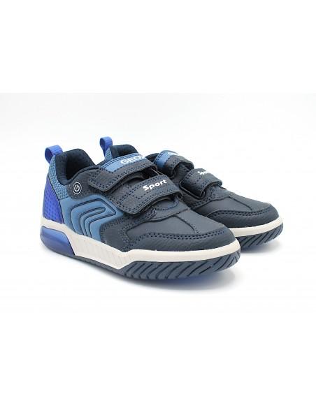 Geox scarpe da bambino con luci led alte lacci elastici Inek J949CE Navy/Red