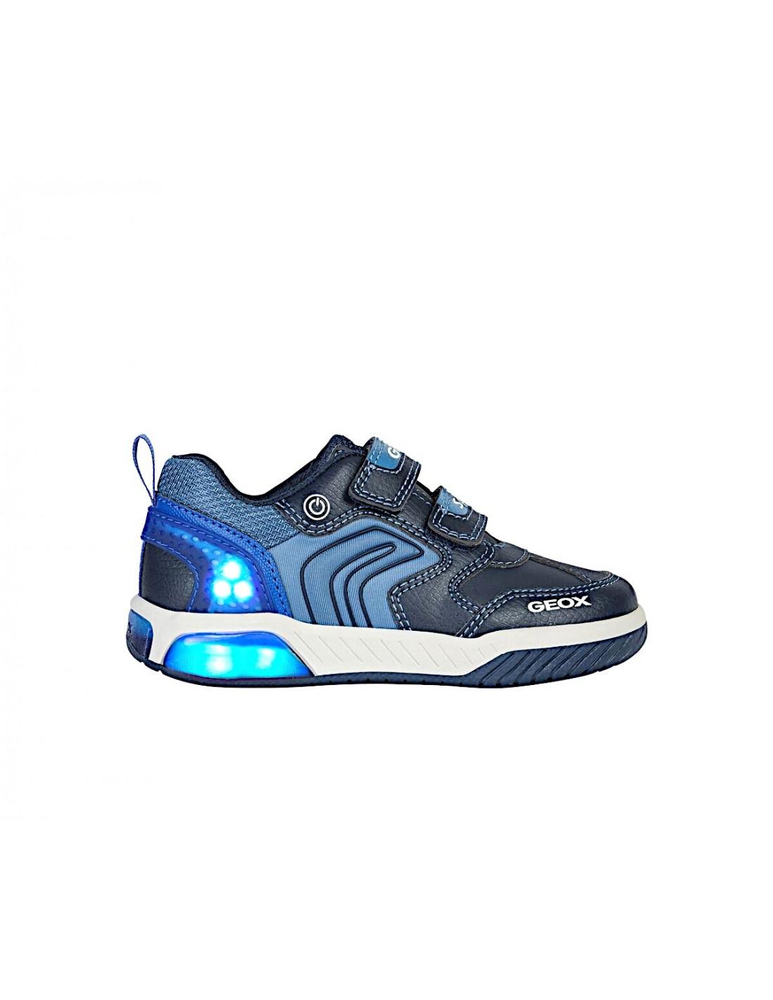 Dettagli su Geox scarpe con luci led da bambino sneakers Inek J per ragazzo Bambini