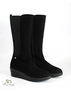Enval Soft stivali da donna con elastico in camoscio nero con zeppa 4266911