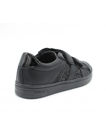 Geox scarpe da bambina in pelle con strappo nero DjRock J944MC