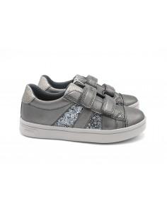 Geox scarpe da bambina in pelle con strappo GRIGIO DjRock J944MC