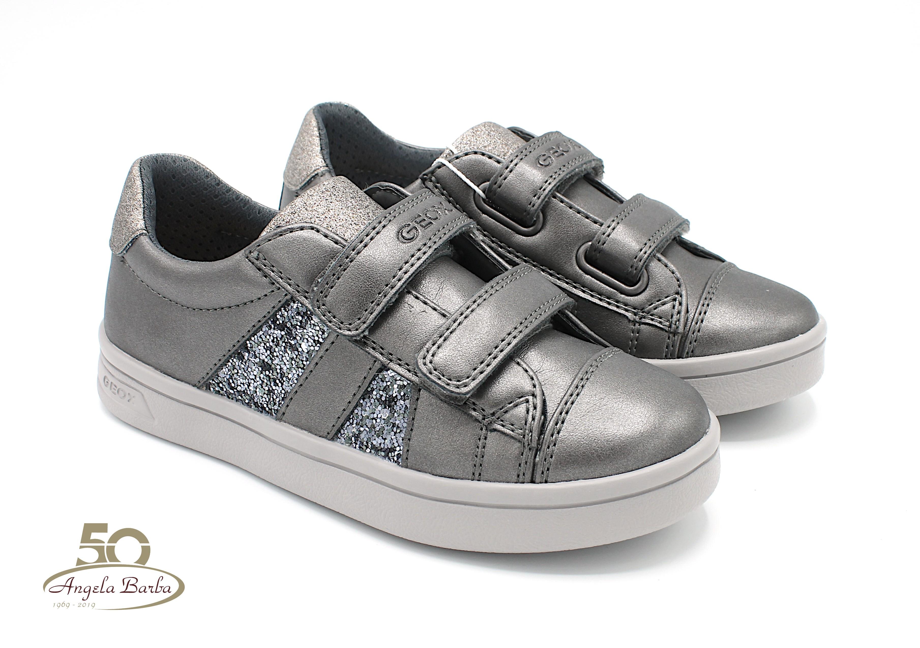 Geox scarpe da bambina in pelle con strappo GRIGIO DjRock