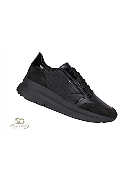 Geox scarpe da donna in pelle nero sneakers con zeppa Backsie D94FLA