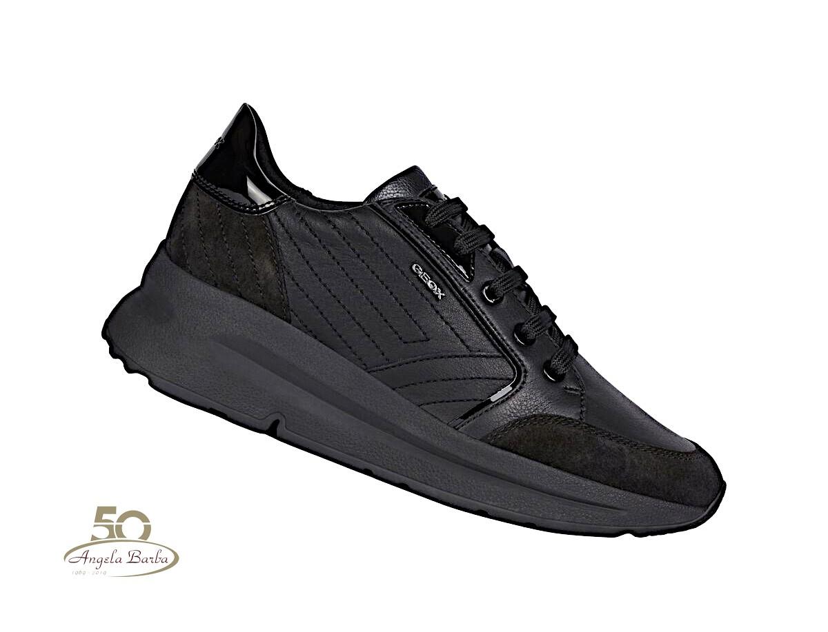 Geox scarpe da donna in pelle nero sneakers con zeppa