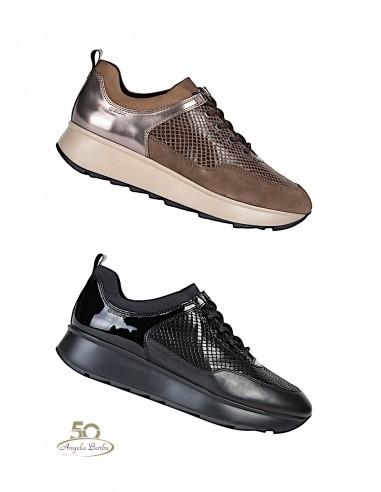 Geox scarpe da donna con zeppa platform sneakerd Gendry D925TB Nero Castagna