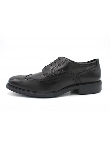 Geox scarpe da uomo color nero Dublin modello derby con impunture inglese U34R2B