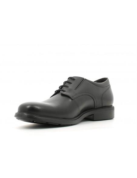Geox U34R2A scarpe da uomo nero linea dublin modello derby in pelle liscia