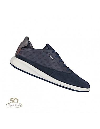 Geox respira scarpe da uomo in pelle blu scuro Aerantis U927FA
